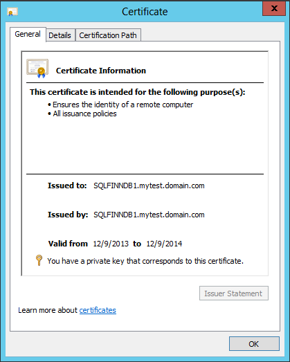 Self-signed certificate