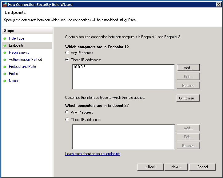 Connection security endpoints