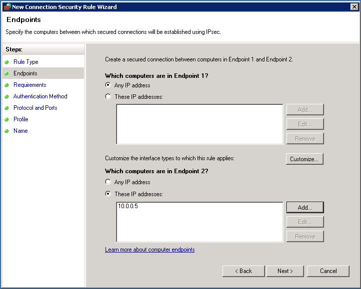 Client security connection rules